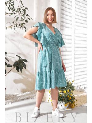 Летнее темно-бирюзовое платье с воланами В751