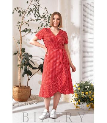 Платье на запах красное в горох В752
