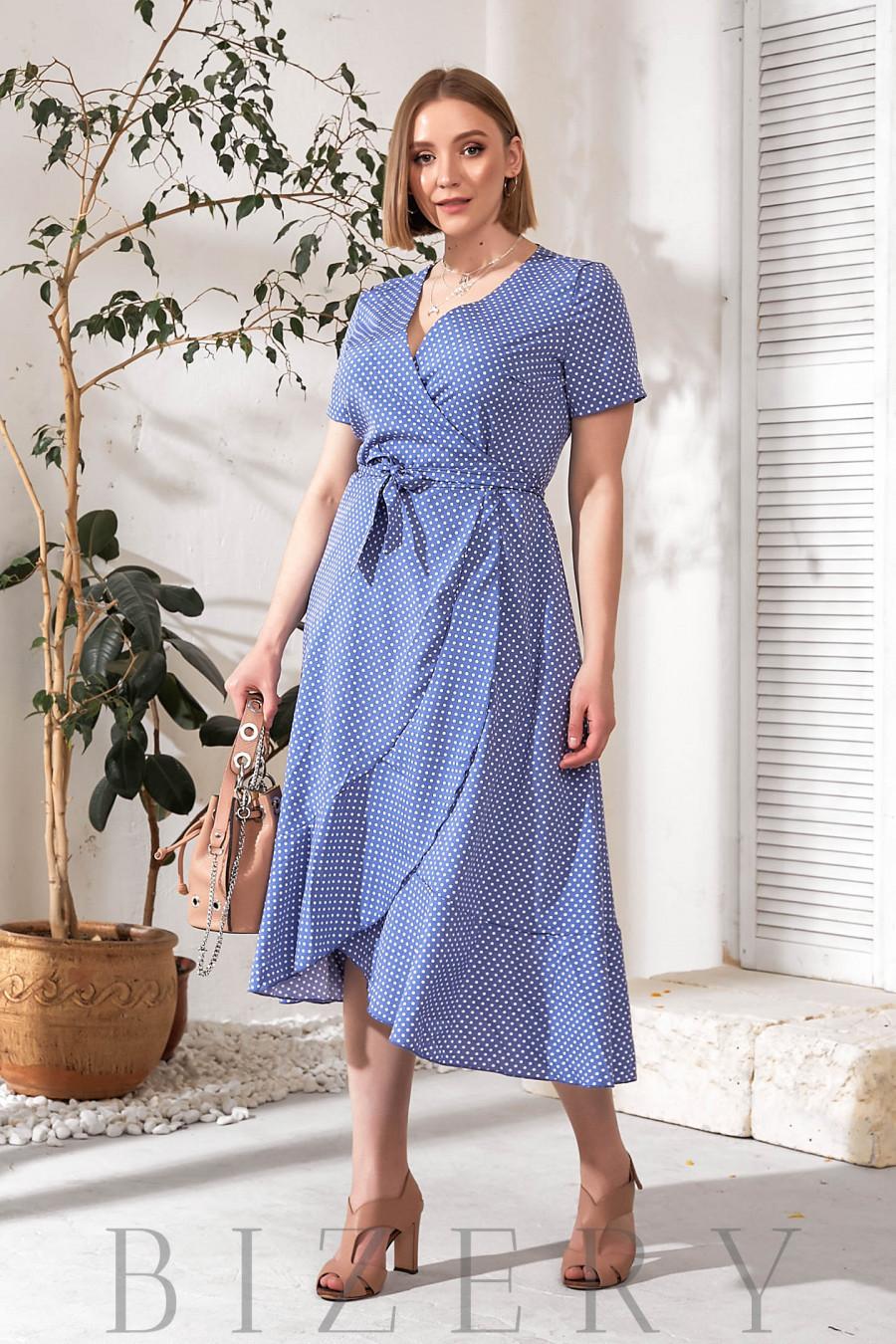 Платье на запах синее в горох В753