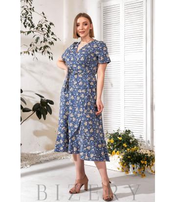 Платье на запах синее с цветочным принтом В755