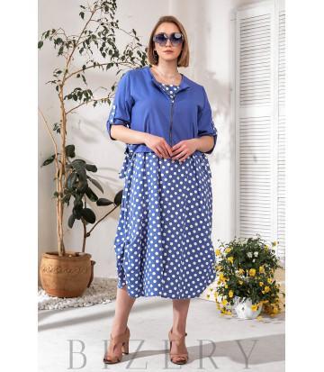 Женское льняное платье в горох с накидкой синее В758