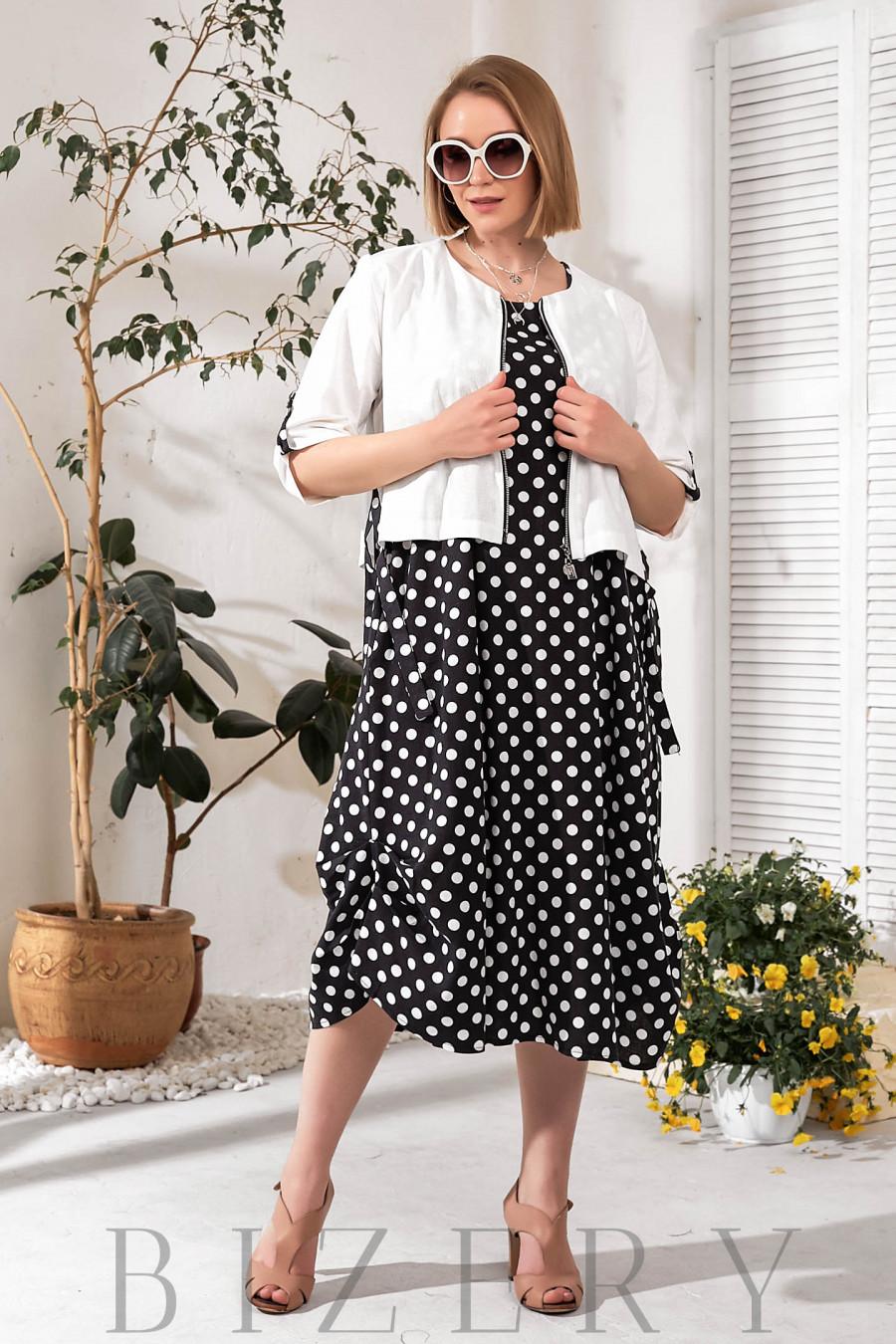 Женское льняное платье в горох с накидкой черное В759