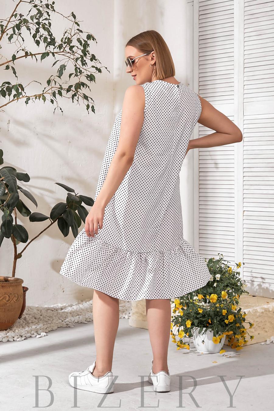 Белое летнее платье горох В766