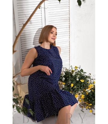 Синее летнее платье горох В767