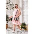 Нежно-розовое летнее платье горох В768