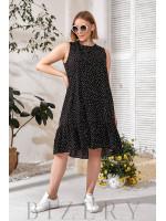 Черное летнее платье горох В769