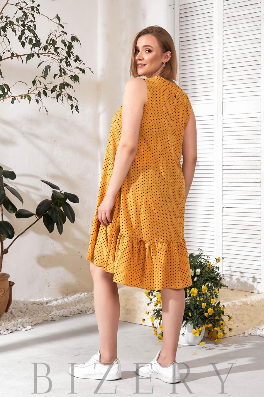 Желтое летнее платье горох В770