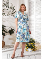 Платье на запах в цветочный принт В771