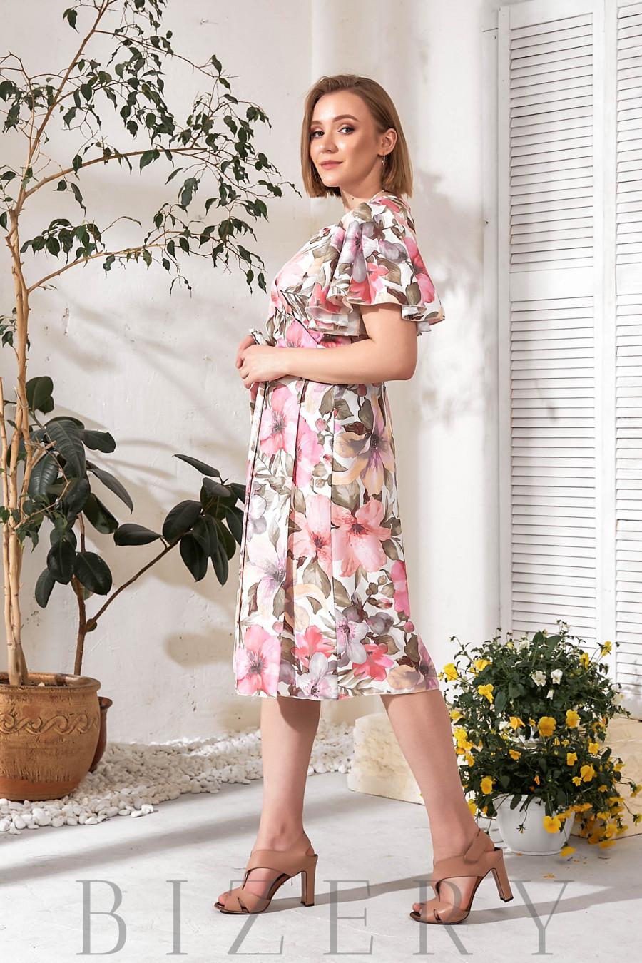 Платье на запах в цветочный принт В772