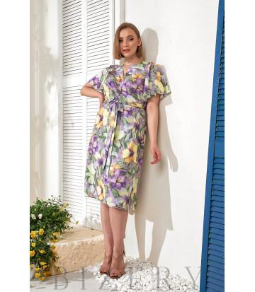 Платье на запах в цветочный принт В773
