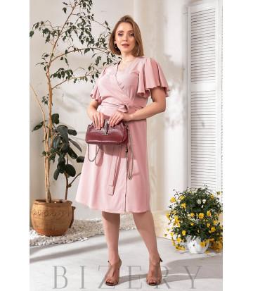 Элегантное нежно-розовое платье на запах В775