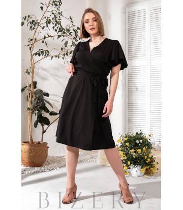 Элегантное черное платье на запах В776