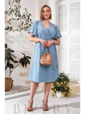 Элегантное голубое платье на запах В777