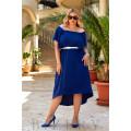 Коктейльное платье с асимметричным подолом в синем цвете В934