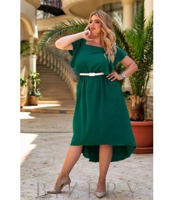 Коктейльное платье с асимметричным подолом в зеленом цвете В936