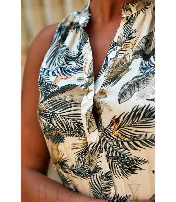 Платье-сарафан с принтом в нежно-бежевой расцветке В940