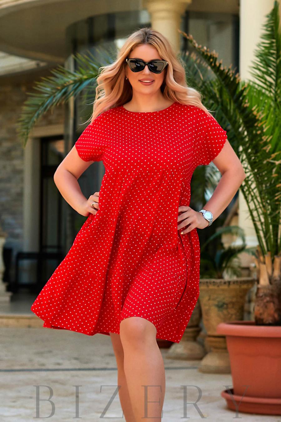 Повседневное легкое платье из шатпеля в красной расцветке В941