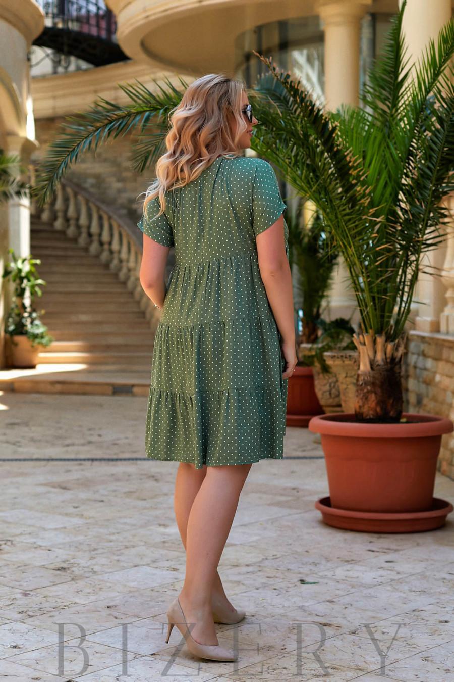 Повседневное легкое платье из шатпеля в оливковой расцветке В943