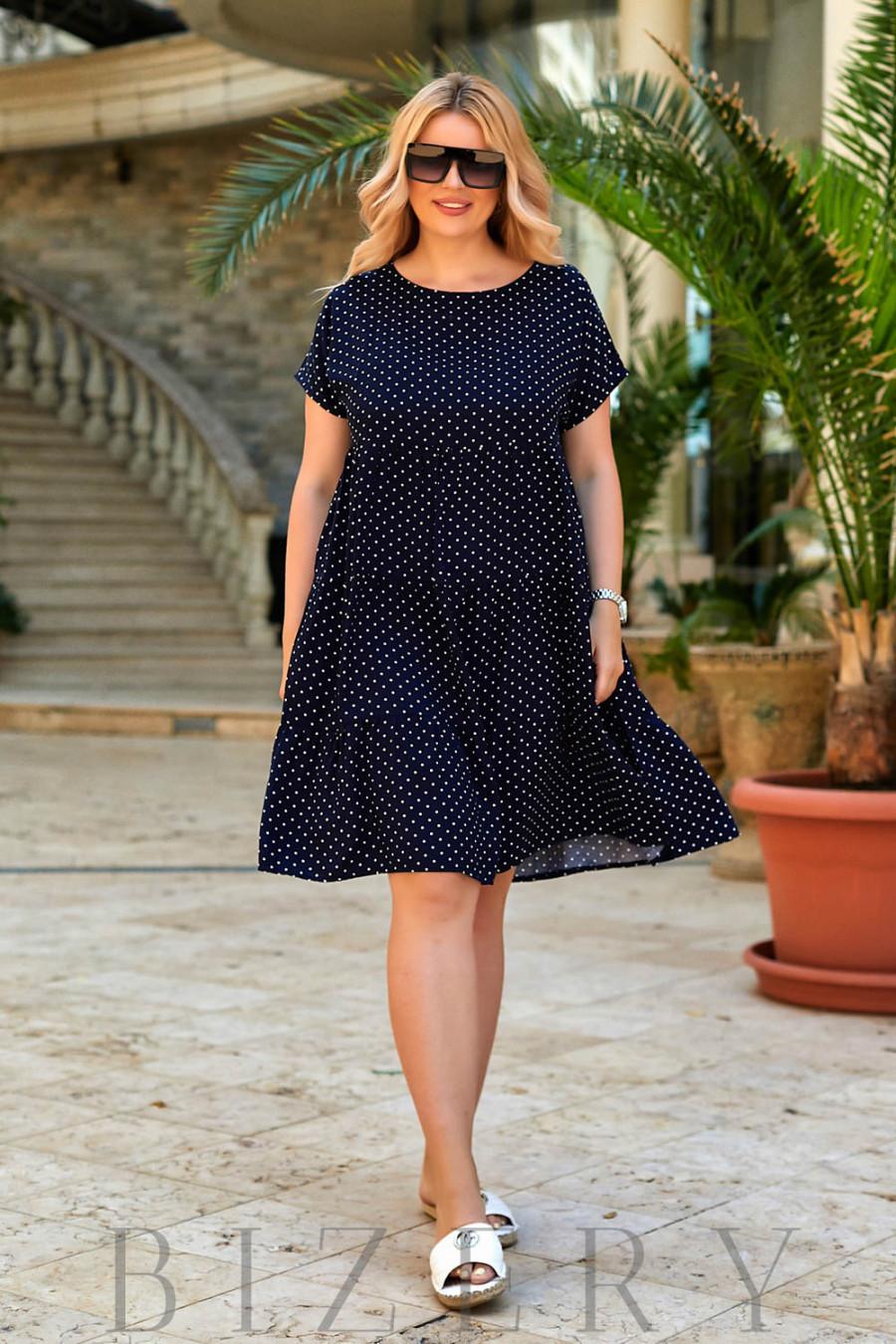 Повседневное легкое платье из шатпеля в темно-синей расцветке В944
