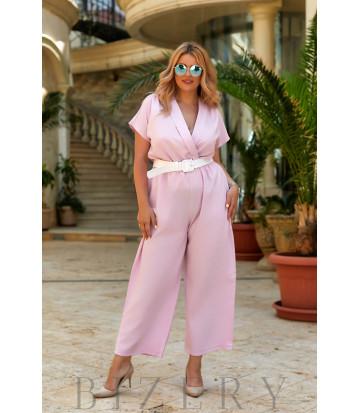Стильный женский комбинезон в светло-розовом цвете В946