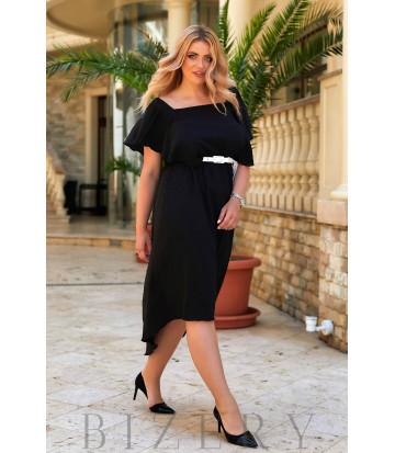Коктейльное платье с асимметричным подолом в черном цвете В938