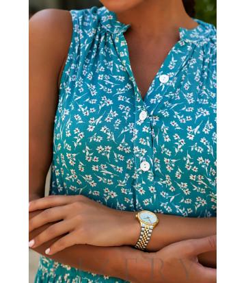 Платье-сарафан с принтом в тёмно-лазурной расцветке В939