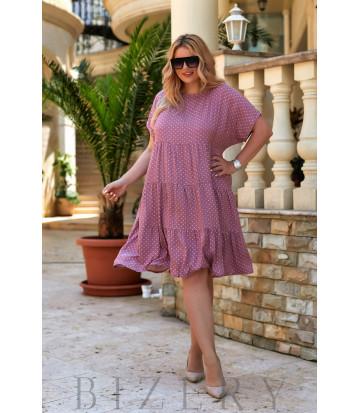 Повседневное легкое платье из шатпеля в сиреневой расцветке В942