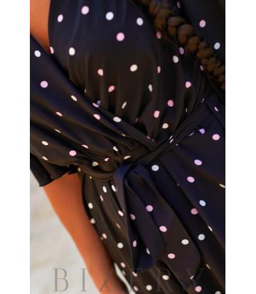 Легкий летний комбинезон в крупный горошек цвет черный В951