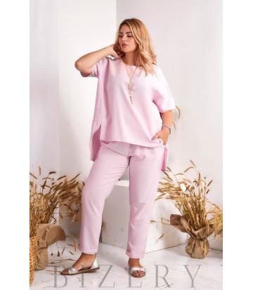Брючный костюм в розовом цвете В978