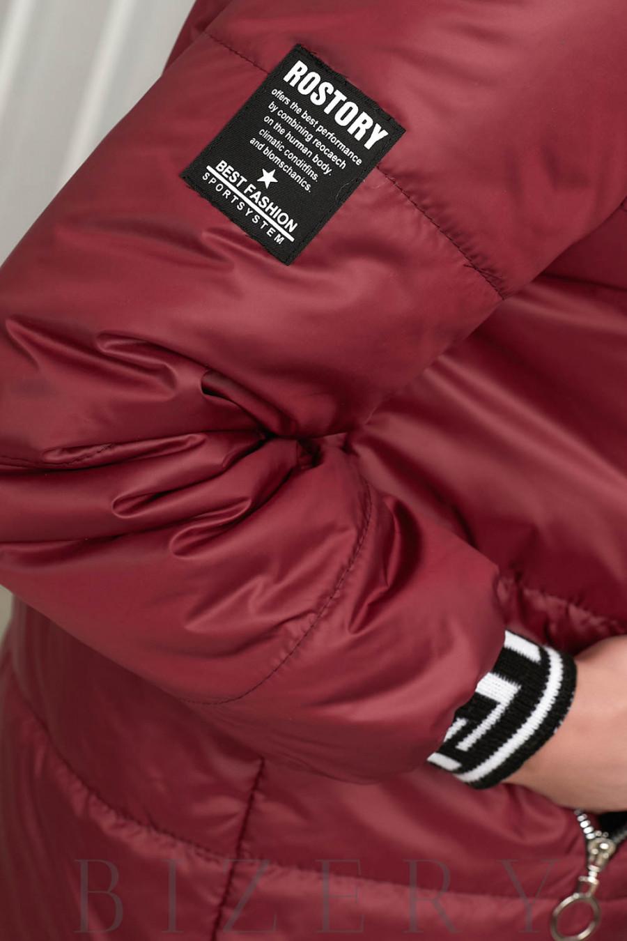 Удлинённая демисезонная куртка в цвете марсала В641