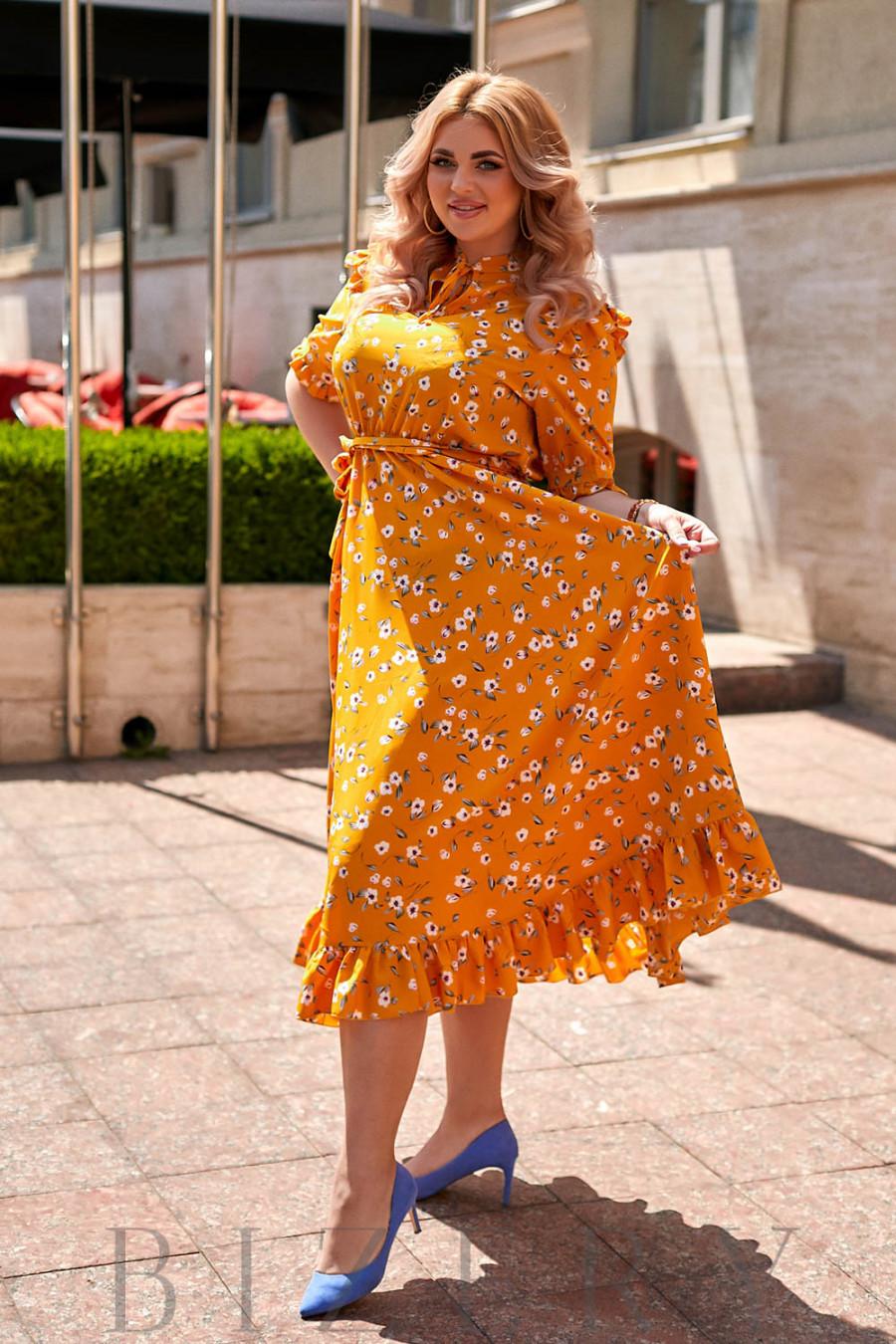 Длинное желтое коктейльное платье в цветочный принт В906