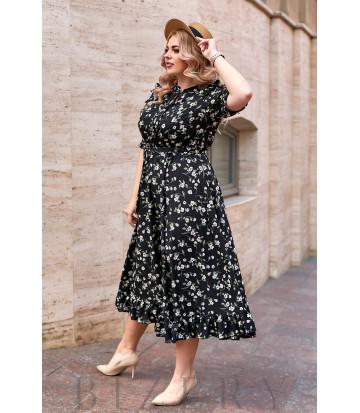 Длинное черное коктейльное платье в цветочный принт В907
