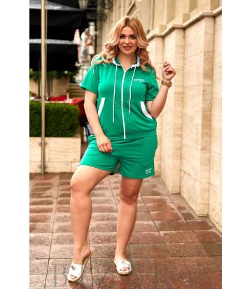 Летний костюм с шортами зеленого цвета В909