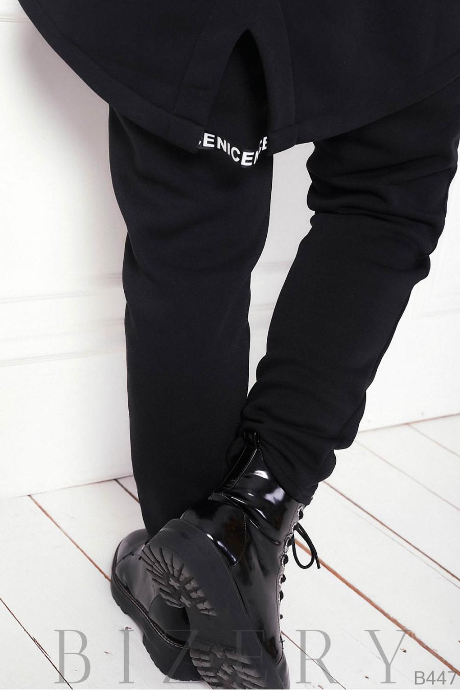 Утеплённый костюм полу-спорт в чёрном цвете B447