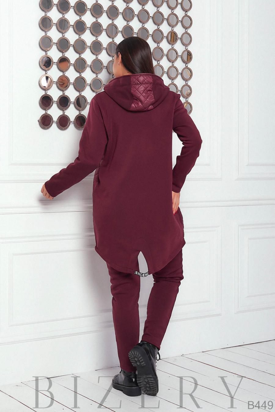 Утеплённый костюм полу-спорт в бордовом цвете B449