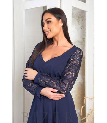 Элегантное платье в тёмно-синем цвете В573