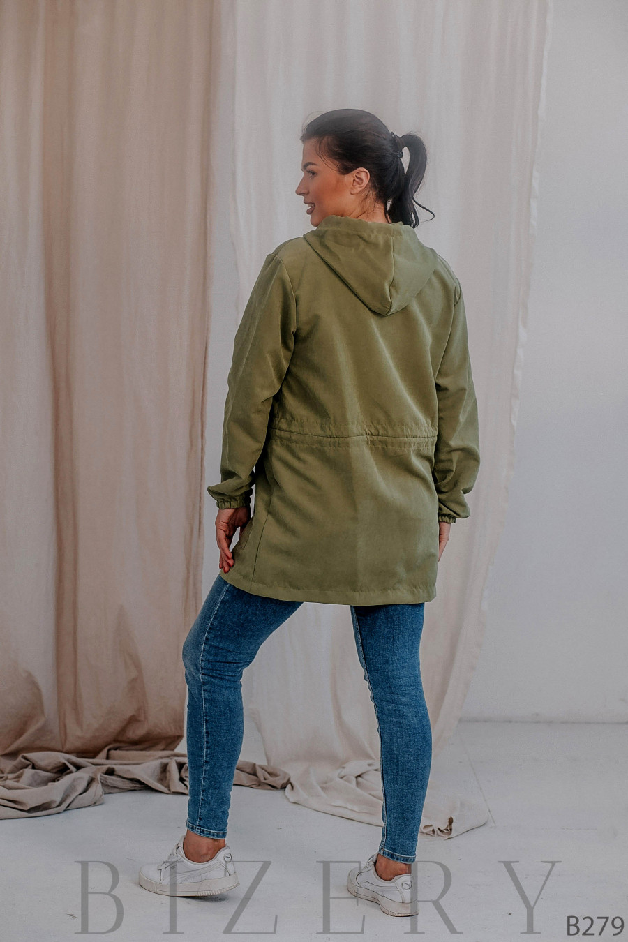 Удлинённая куртка-парка без подклада фисташковая В279