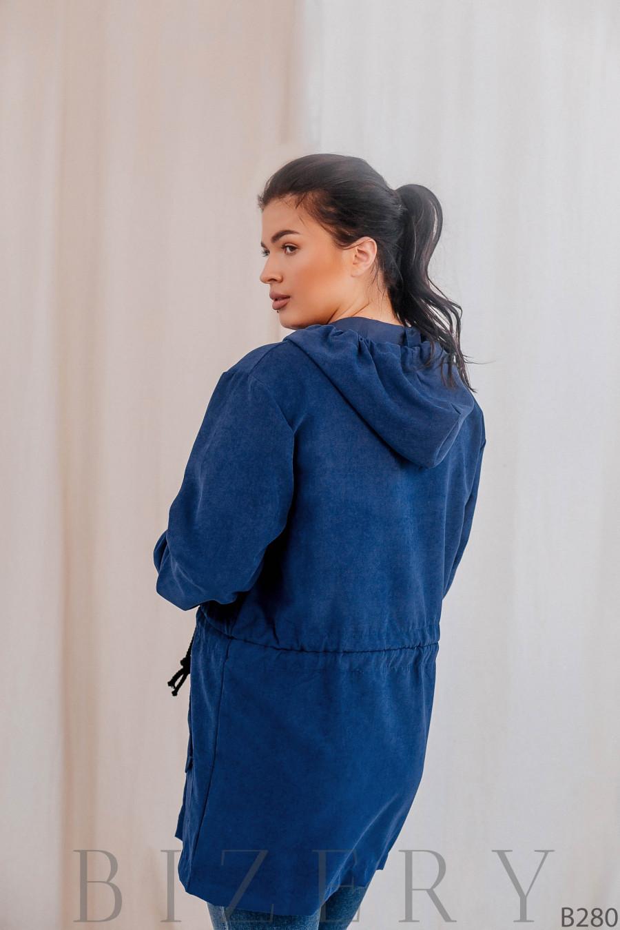 Удлинённая куртка-парка без подклада синяя В280