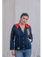 Джинсовая куртка бомбер тёмно-синяя с красным капюшоном В282