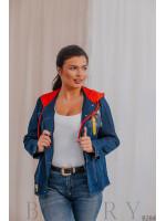 Джинсовая куртка бомбер с красным капюшоном В284