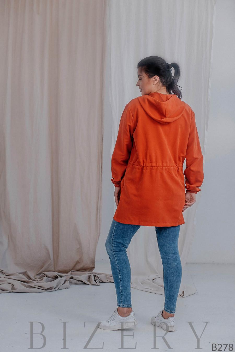 Удлинённая куртка-парка без подклада терракотовая В278