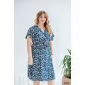Лёгкое повседневное платье синее с цветочным принтом