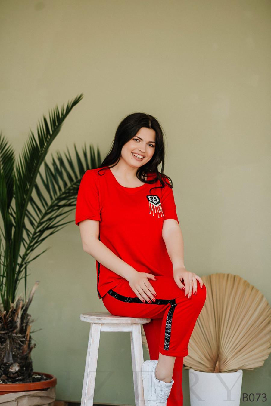Костюм спорт-шик красный с коротким рукавом