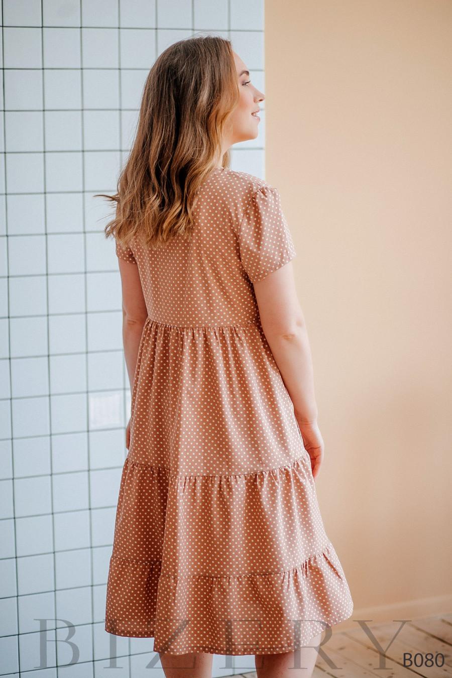 Нежное легкое платье цвета капучино в мелкий горошек