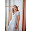 Нежное легкое платье белое в мелкий горошек