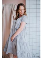 Нежное легкое платье светло-серое в мелкий розовый горошек