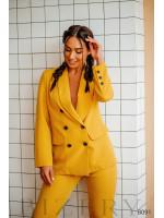 Брючный костюм в деловом стиле тёмно-желтый