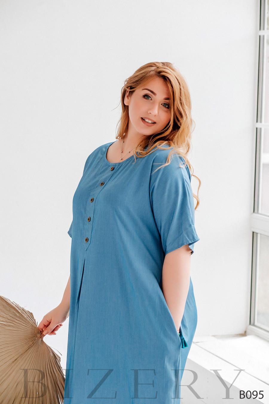Платье макси свободного кроя из легкого джинса голубое
