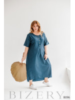 Платье макси свободного кроя из легкого джинса синее