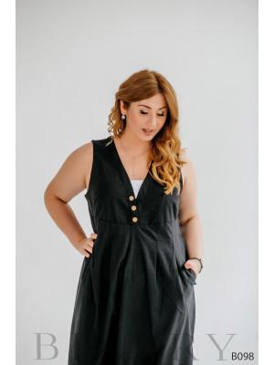 Стильное платье миди черное из льна без рукавов с боковым карманом B098